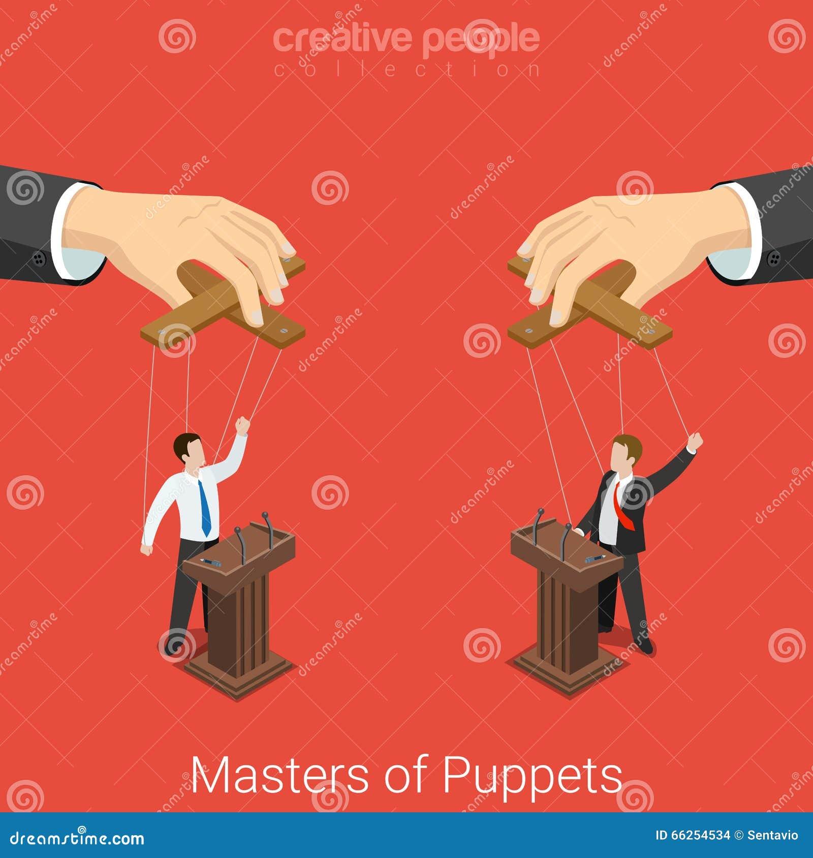 Los amos de la elección 3d plano de la política de las marionetas vector isométrico