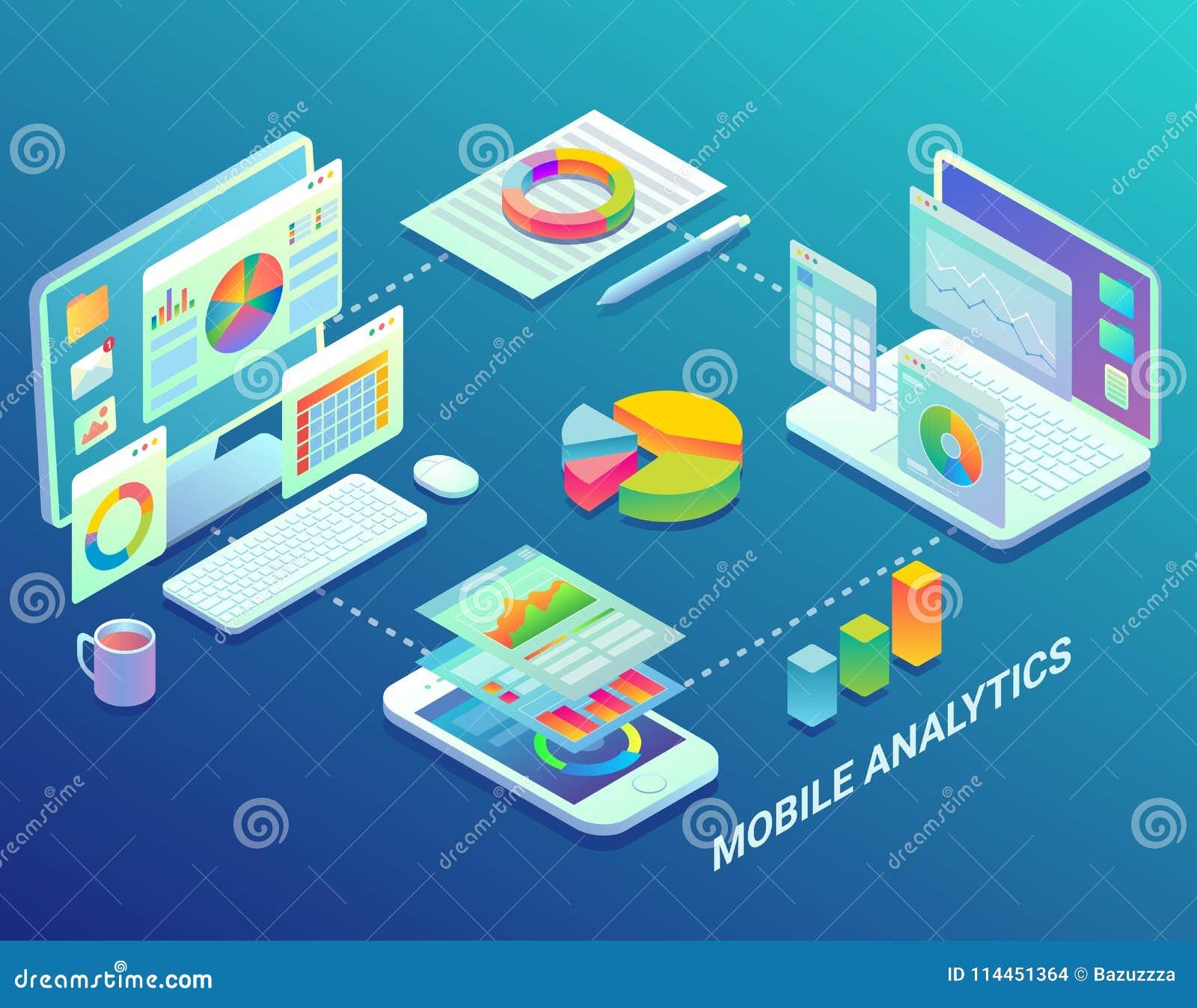 Los analytics móviles del web infographic, vector el ejemplo isométrico plano