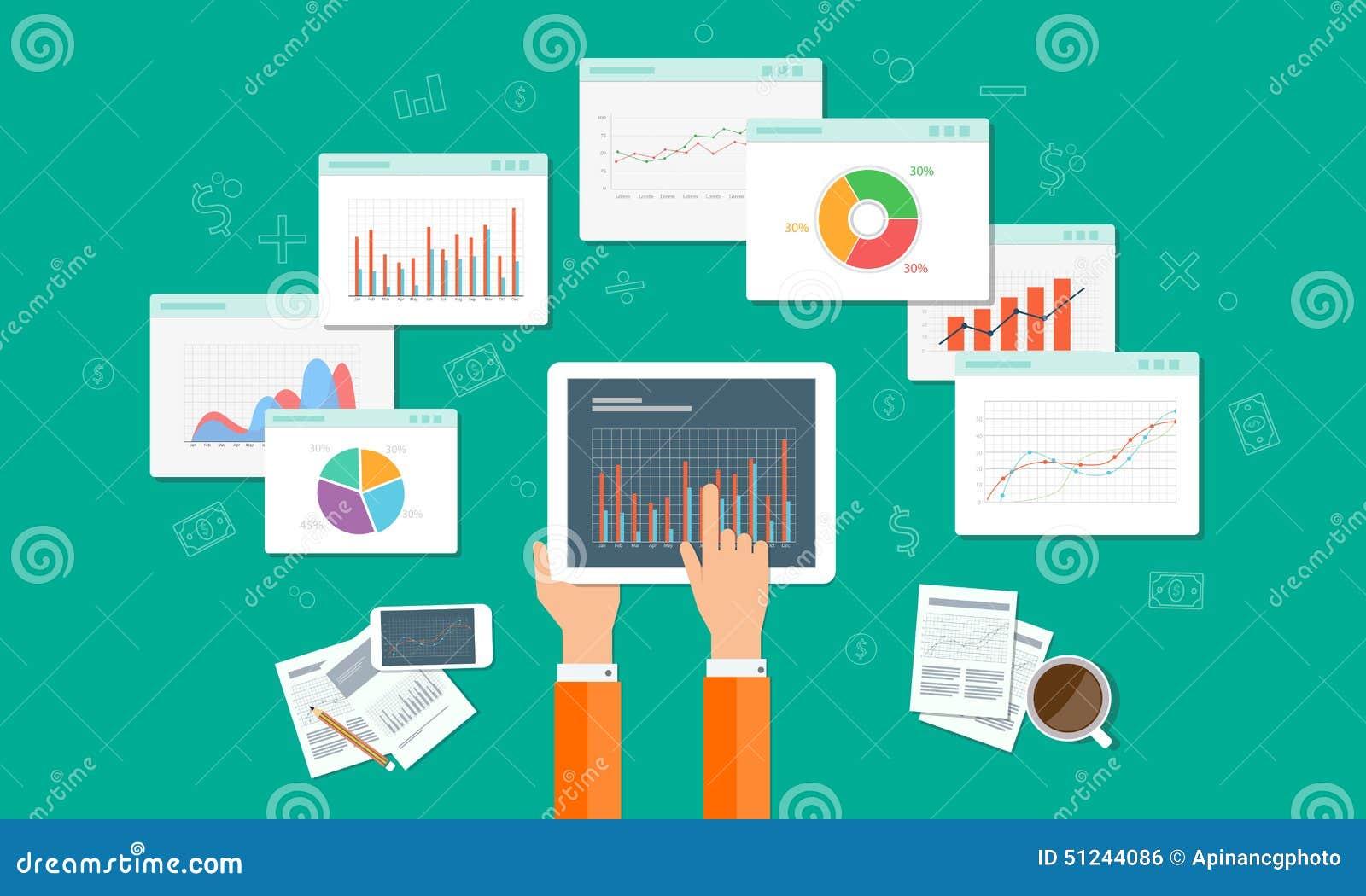 Los Analytics representan gráficamente y el negocio del seo en el dispositivo móvil