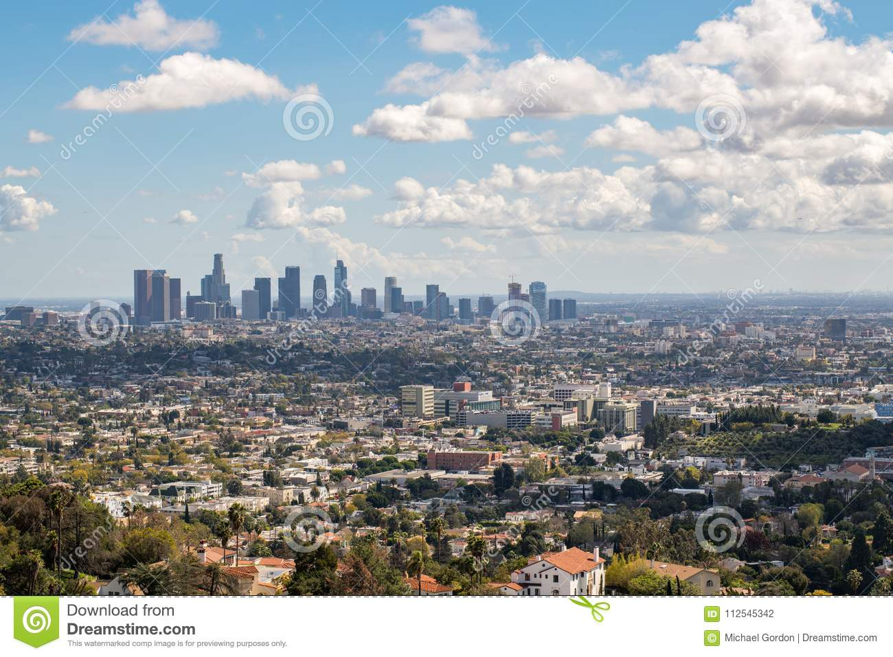 Los Angeles Downtown Skyline Editorial Photography - Image of houses