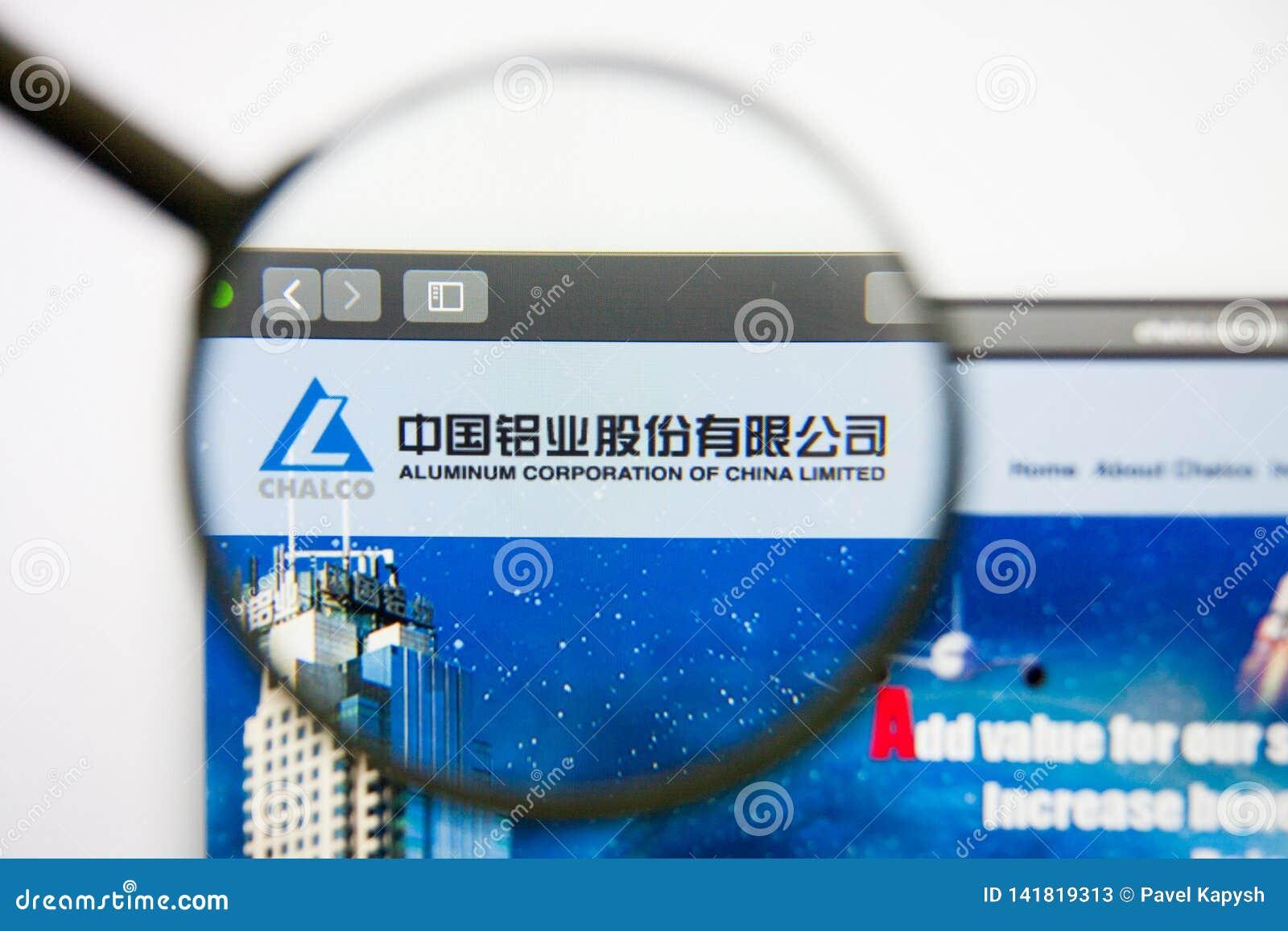 Los Angeles, Californië, de V.S. - 14 Februari 2019: Aluminium Corp van de websitehomepage van China Aluminium Corp van het emble