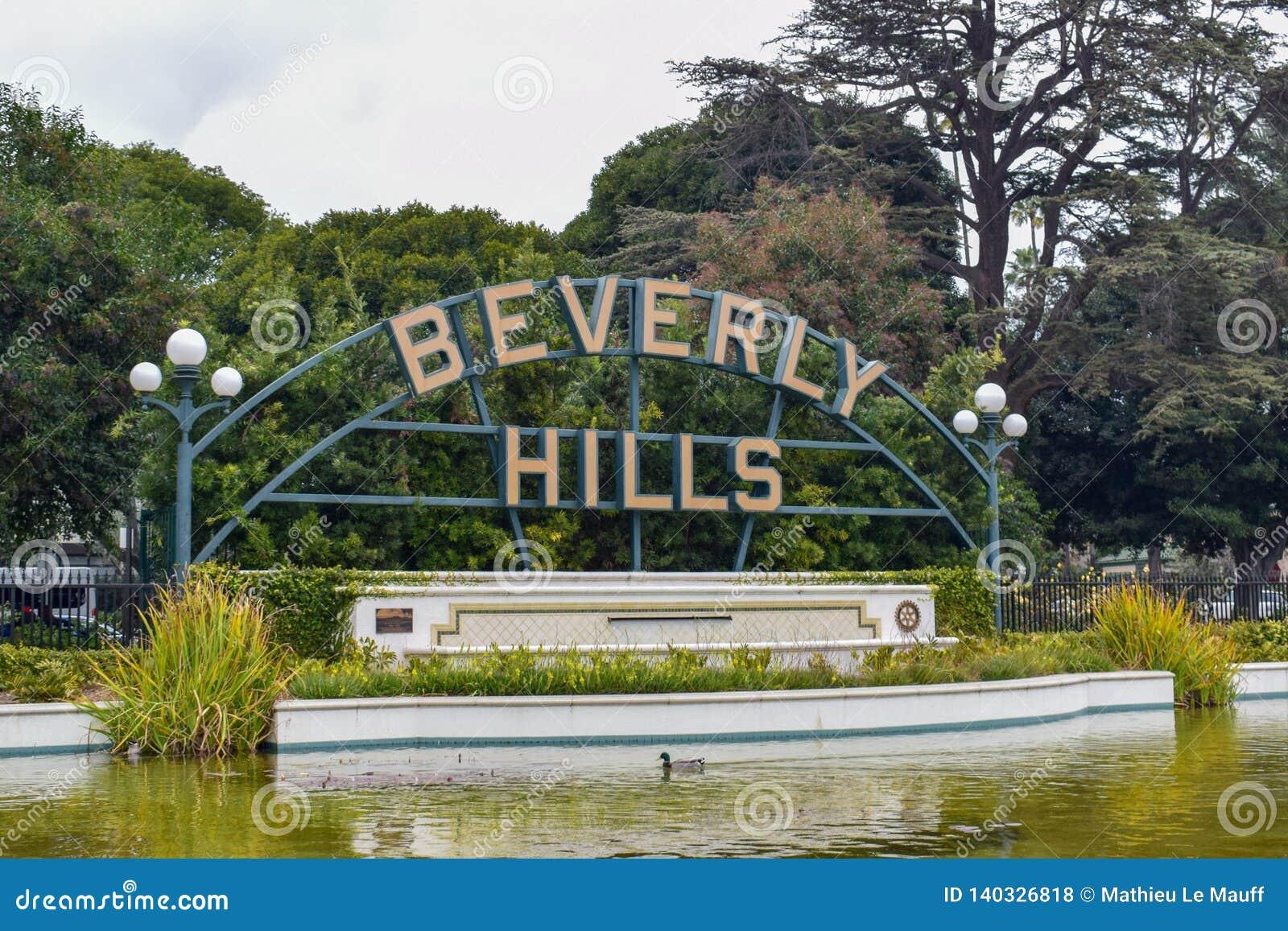 Los Angeles, Californië, de V.S. - 5 Januari, 2019: Beverly Hills Sign