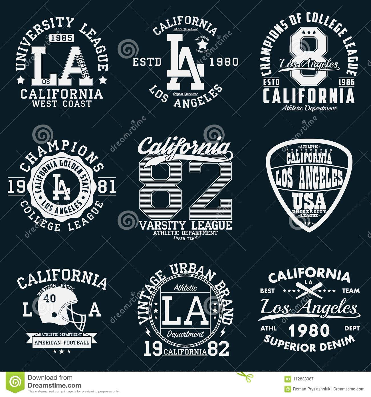 Los Angeles California Typography Set Of Athletic Print For T