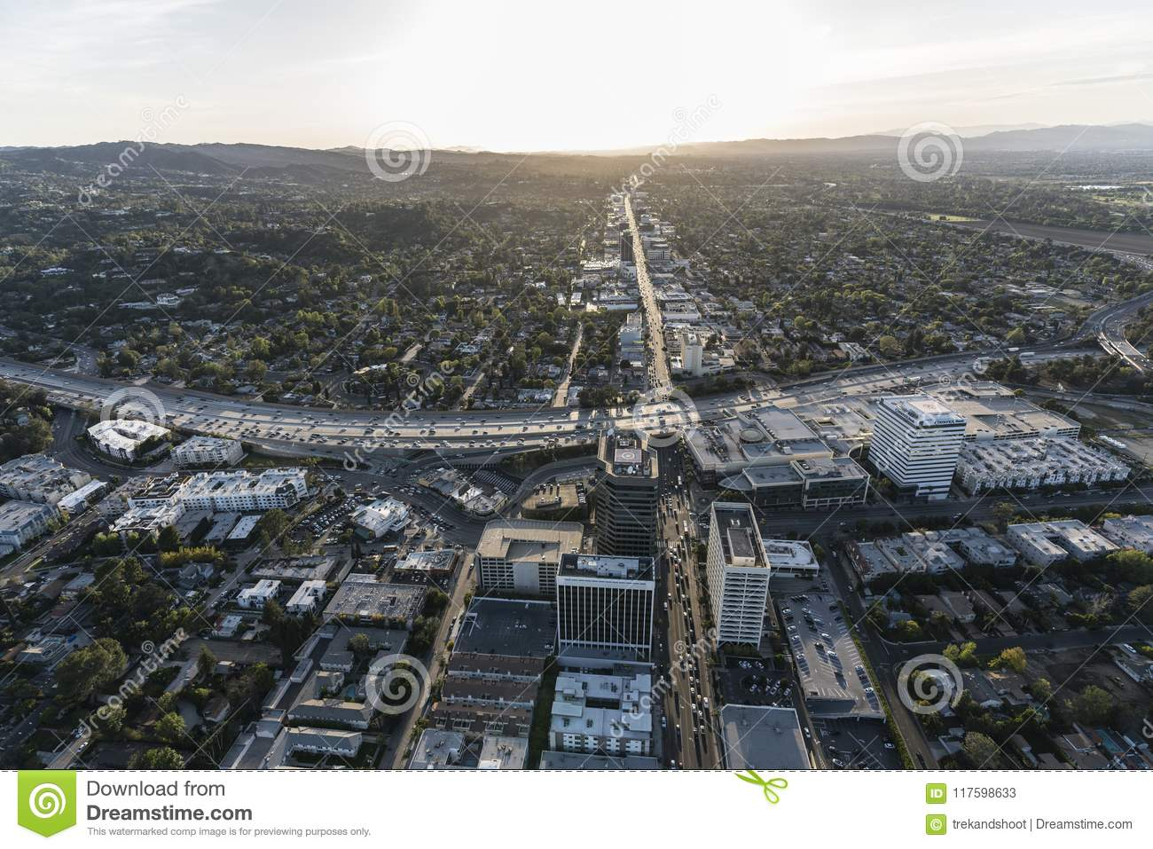 Los Angeles Ventura Bl Sherman Oaks Aerial Editorial Stock