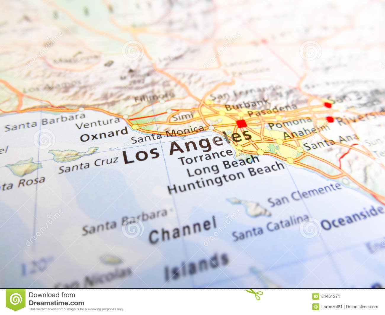 Los Angeles City Over A Road Map USA Stock Image - Image of city ...