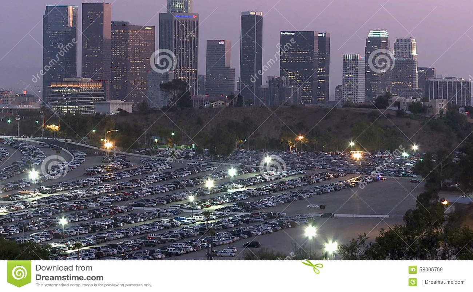 Los Angeles City Skyline With Dodger Stadium Parking Lot