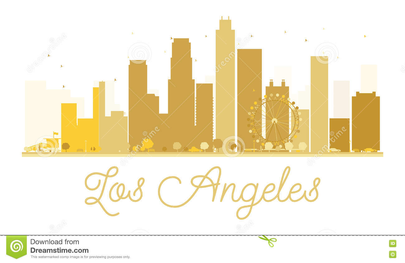 los angeles city skyline golden silhouette royalty free stock image