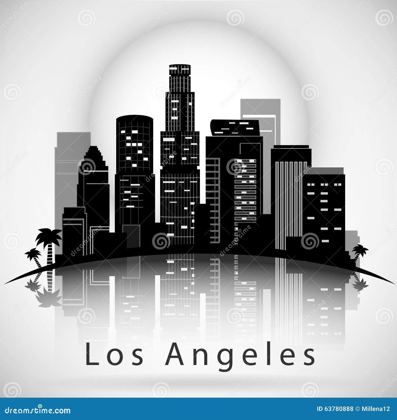los angeles city skyline typographic design stock vector