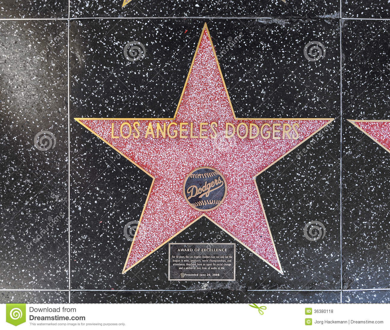 Los angeles dodgers star on hollywood walk of fame editorial los angeles dodgers star on hollywood walk of fame blvd america editorial stock photo buycottarizona Image collections