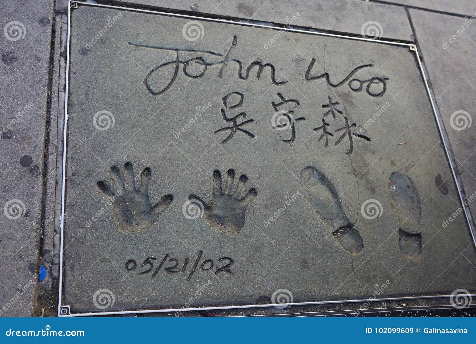 Los Angeles, Etats-Unis, 2016 : handprint et empreinte de pas John Woo de 2h24