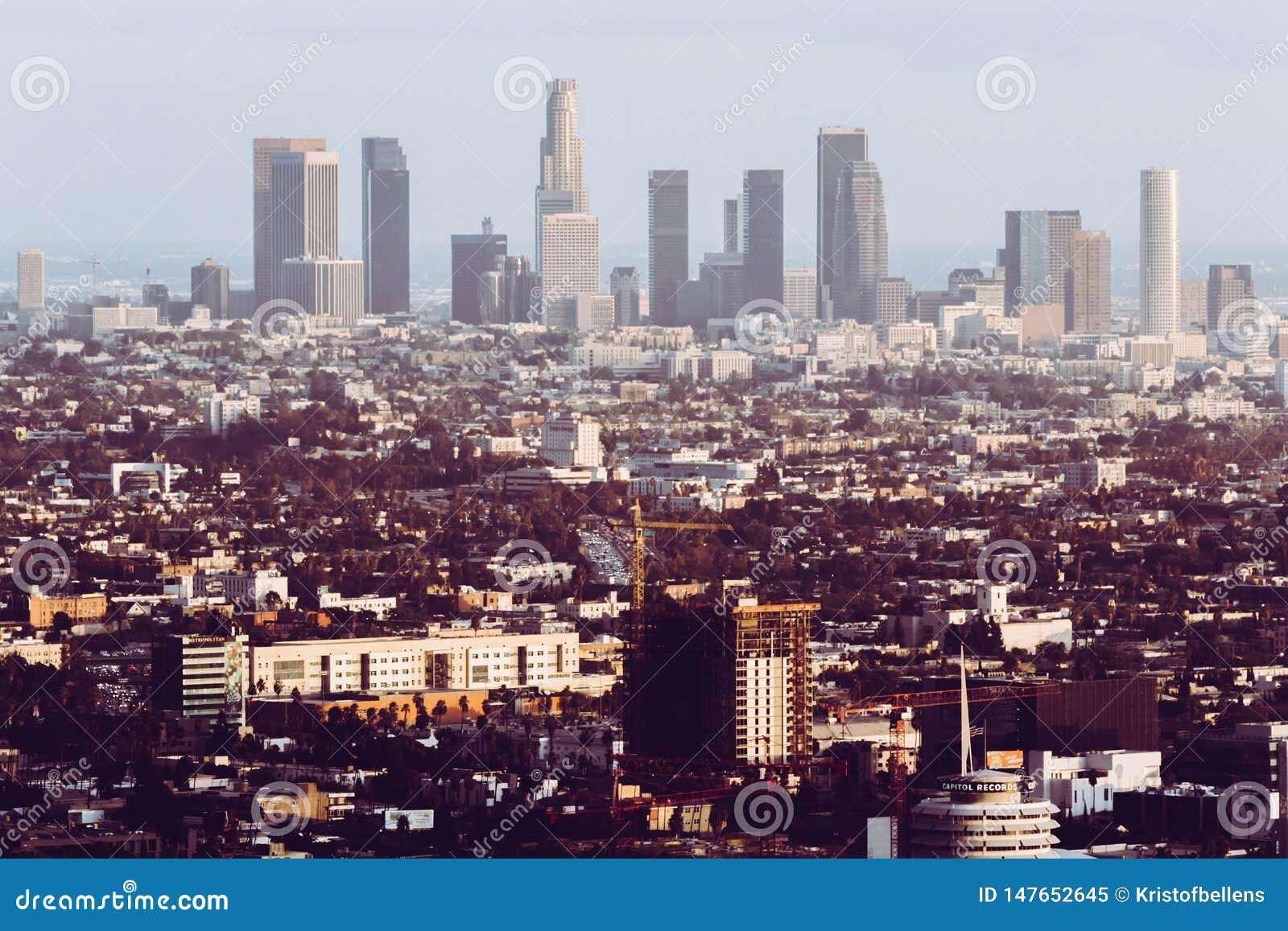 Los Angeles Förenta staterna, cityscape - horisont med retro blick