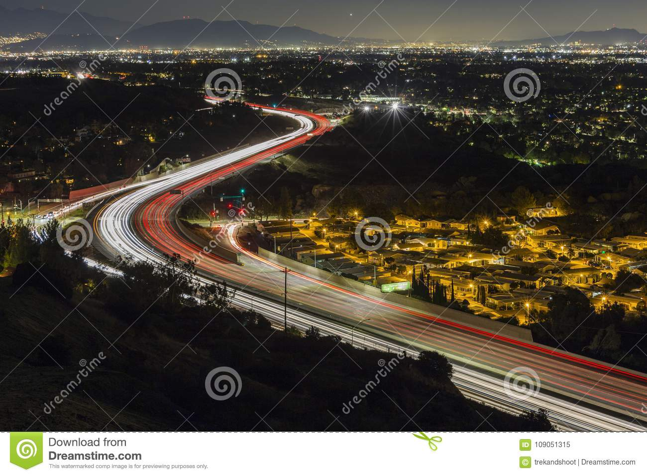 Los Angeles Freeway Route 118 Night