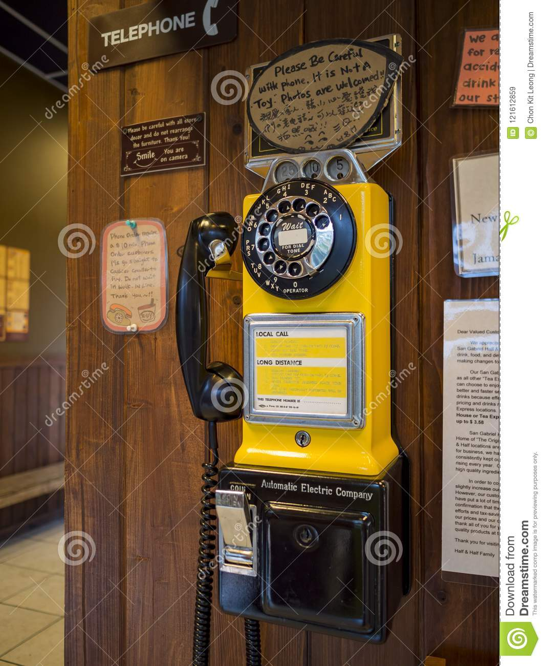 Old School Telephone In A Store Editorial Stock Image - Image of