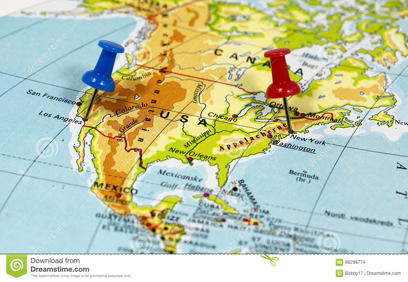 New York On Usa Map.Los Angeles And New York In Usa Stock Photo Image Of City Close