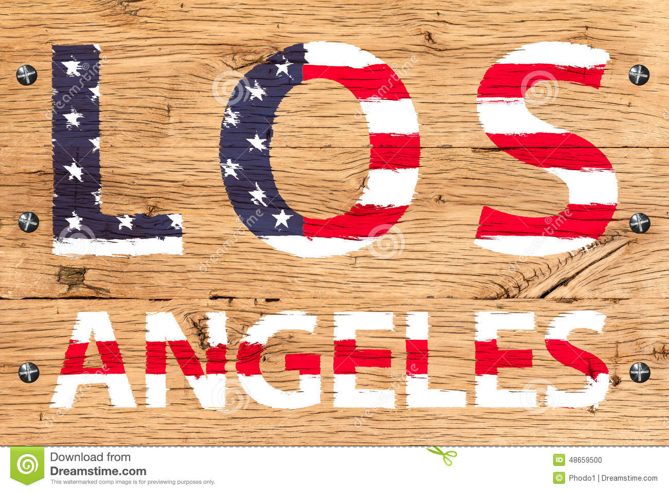 Los Angeles painted with pattern of flag United States old oak w