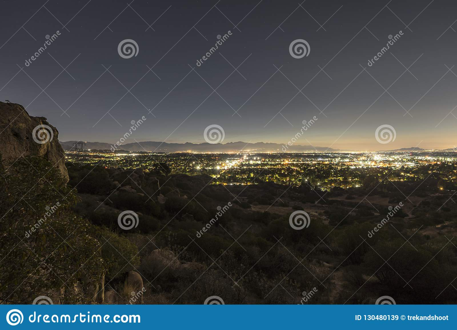 Los Angeles Predawn Scenic View San Fernando Valley Stock Image