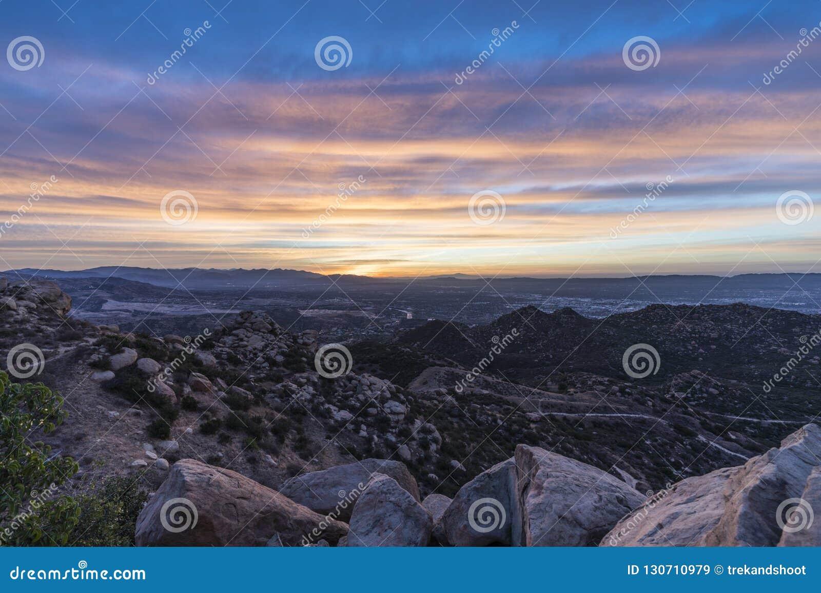 Los Angeles San Fernando Valley Rocky Hillside Sunrise Stock Image