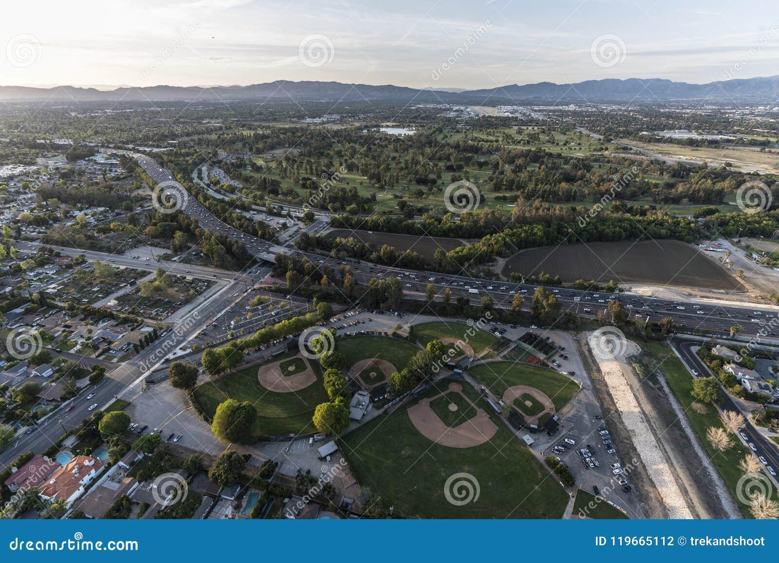 Los Angeles San Fernando Valley Sepulveda Basin Aerial Stock Photo