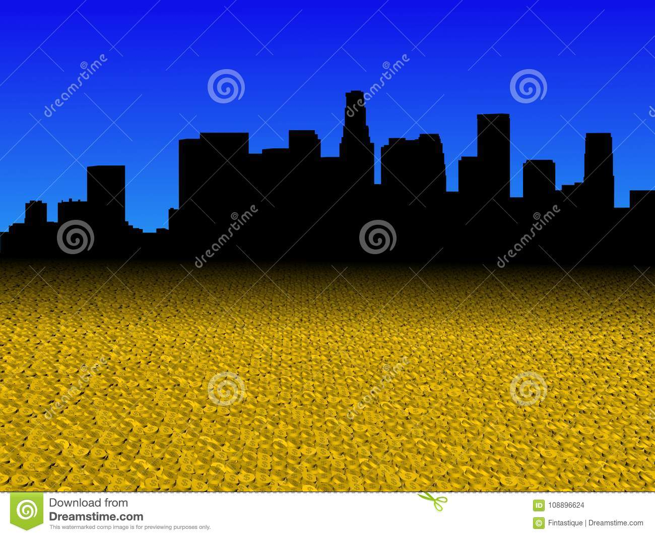 Los Angeles skyline with golden dollar coins foreground illustration