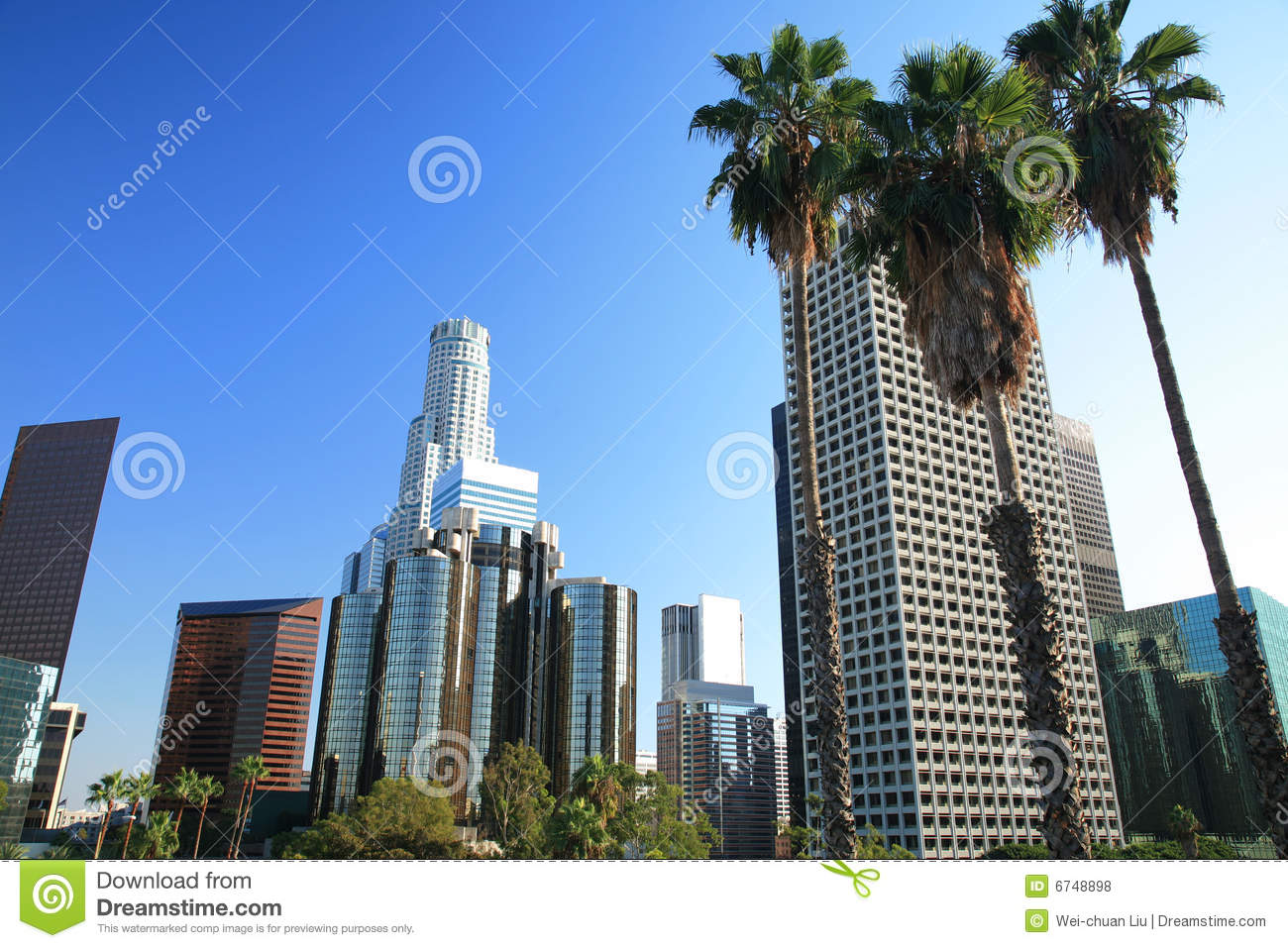 Los Angeles Skyline And Palm Trees Royalty Free Stock Photos - Image ...