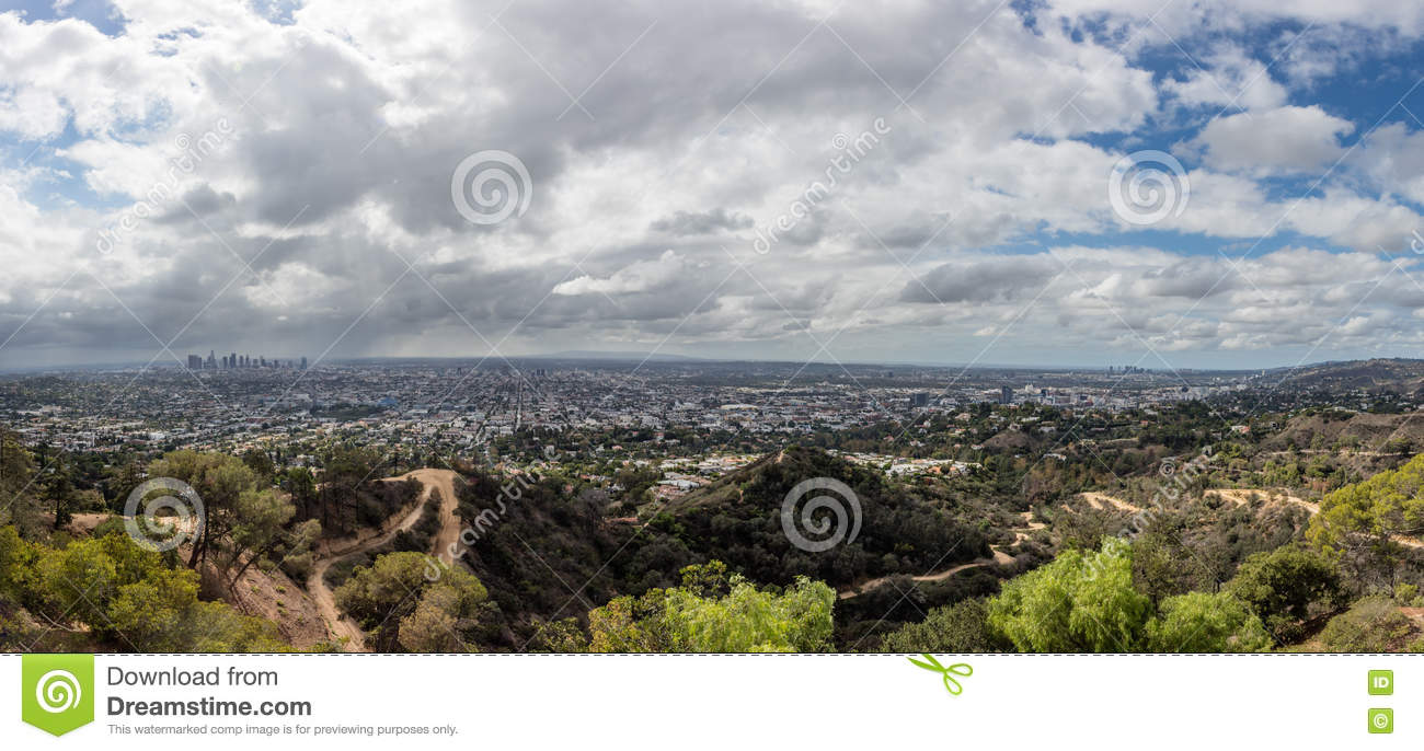 Los Angeles Skyline In San Fernando Valley Stock Image Image Of