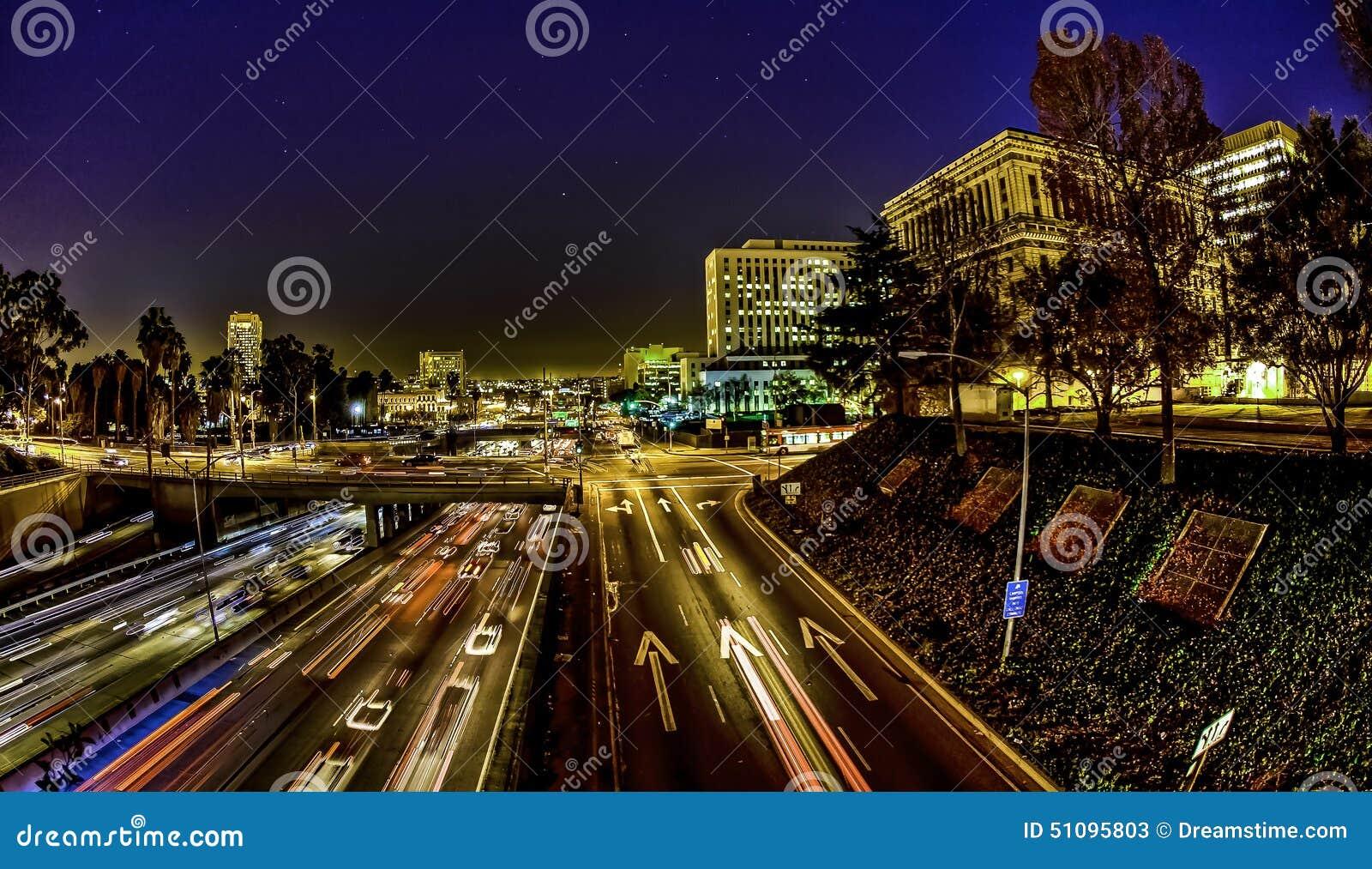 Los Angeles trafik på natten