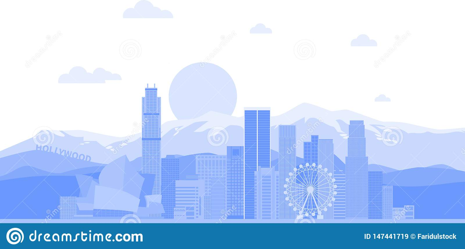 Los Angeles United States city skyline vector background. Flat trendy illustration