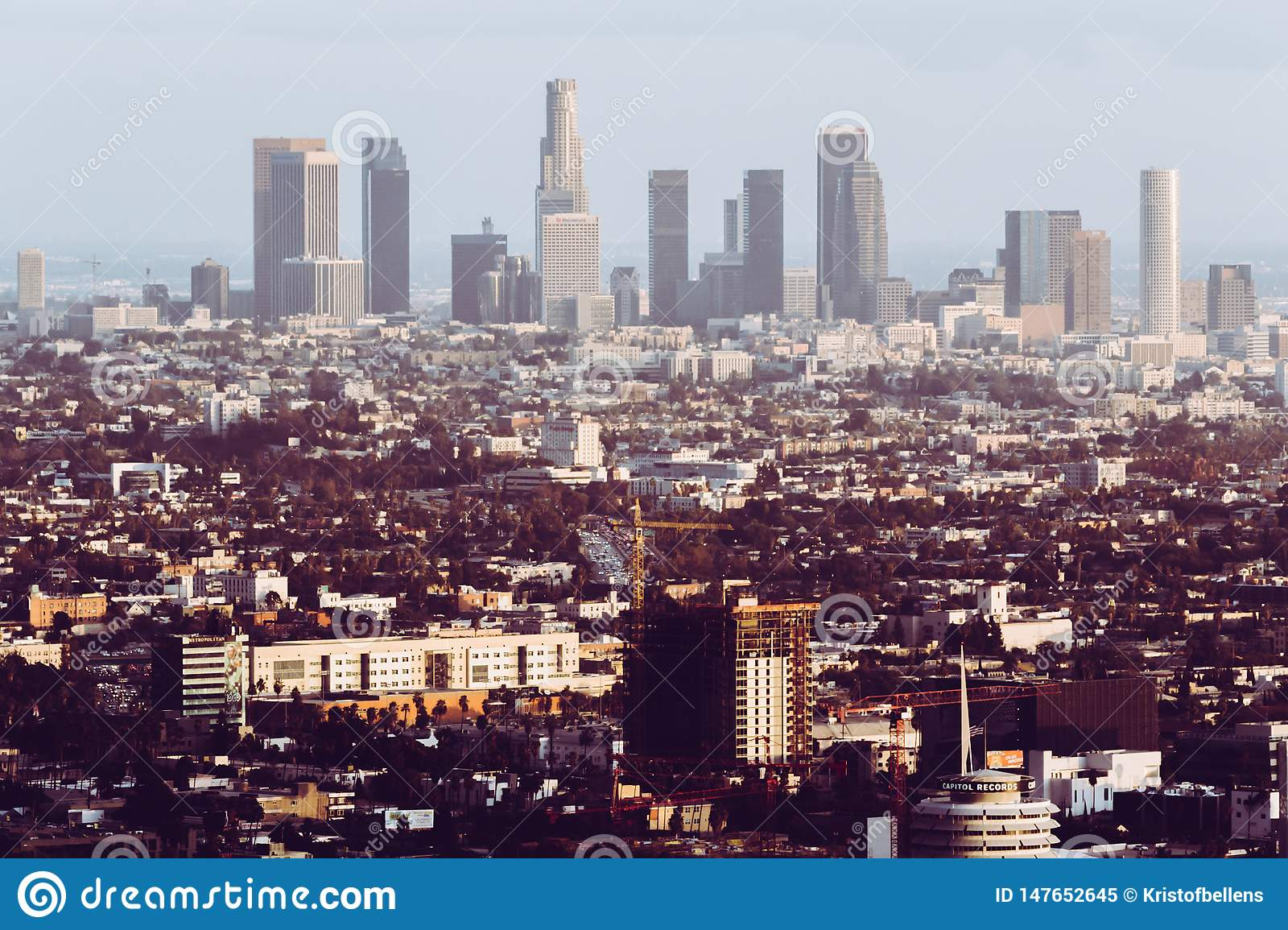 Los Angeles, United States, cityscape - skyline with retro look