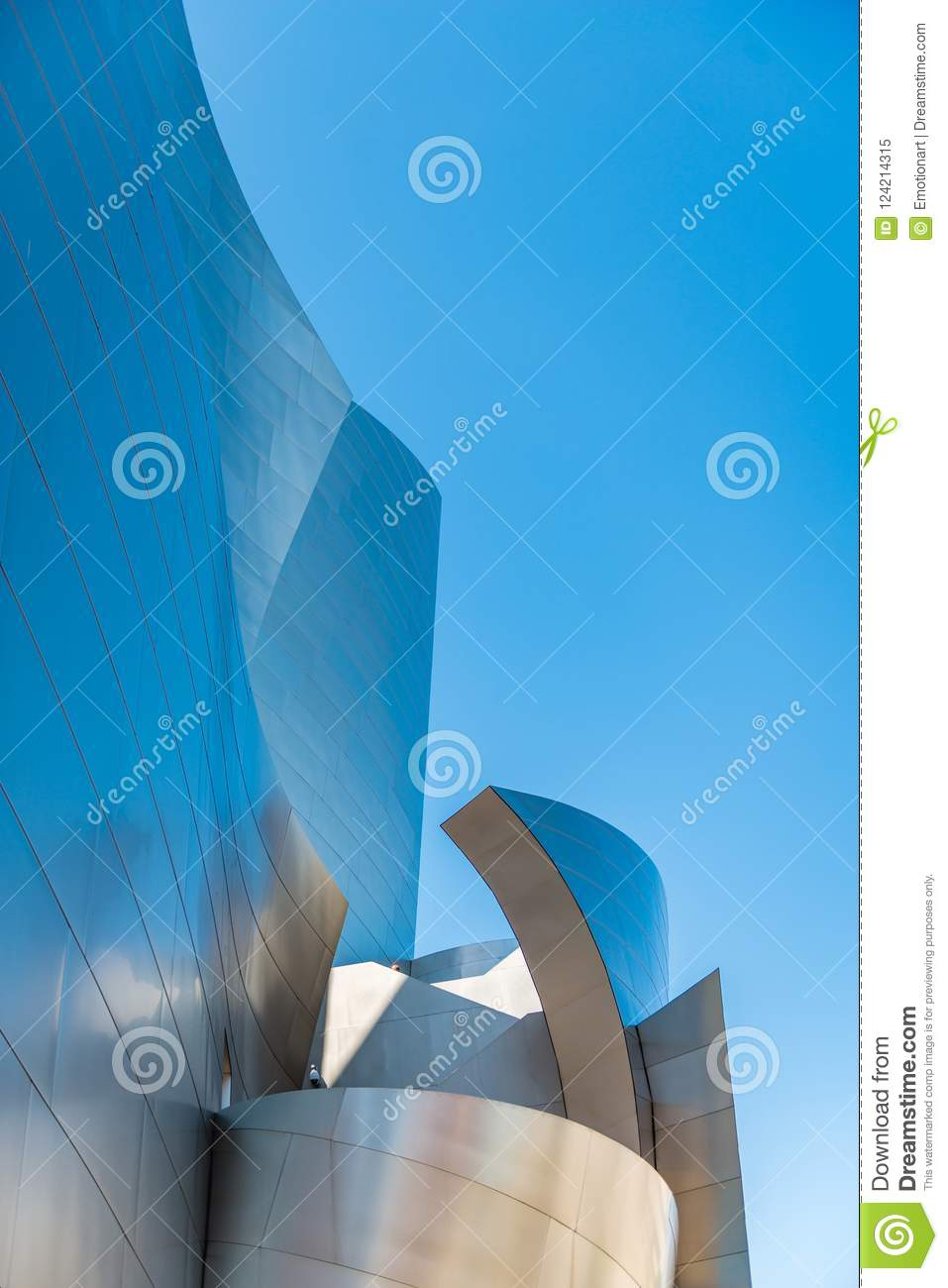 Low-angle of Walt Disney Concert Hall against sky