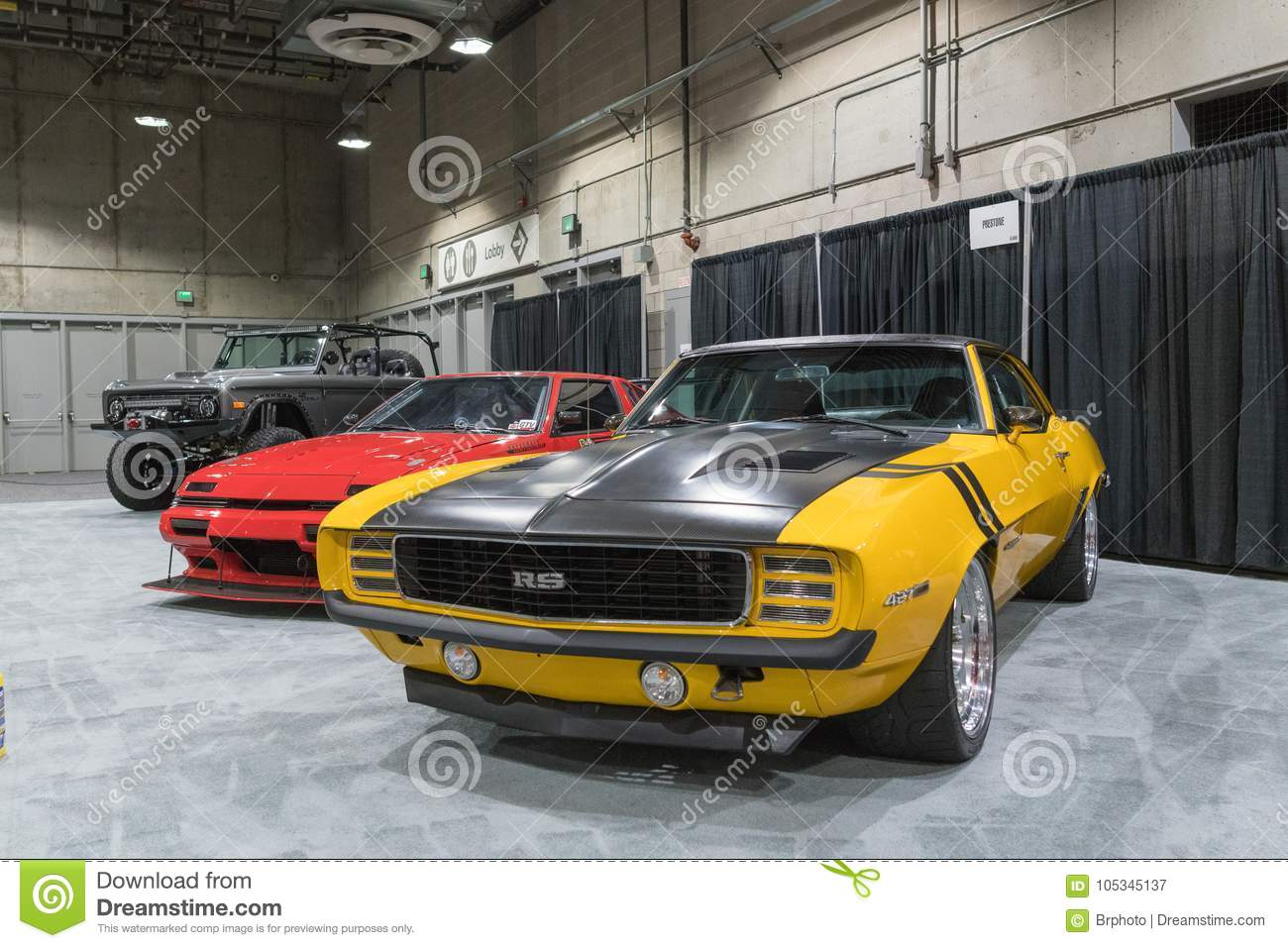 Muscle Car Garage On Display During LA Auto Show Editorial - Show car garage