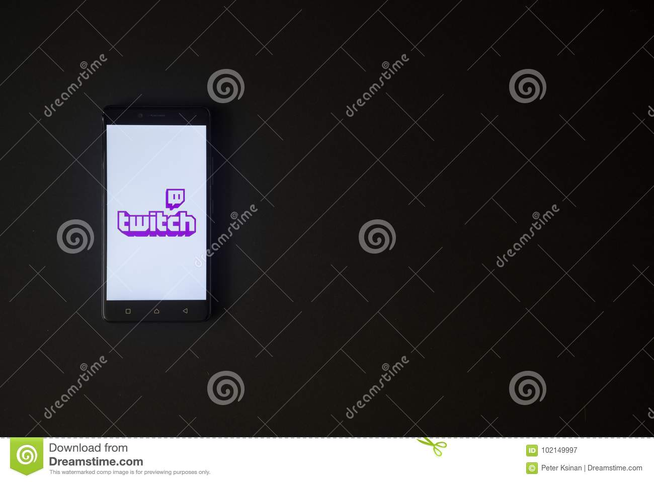 Twitch Logo On Smartphone Screen On Black Background  Editorial