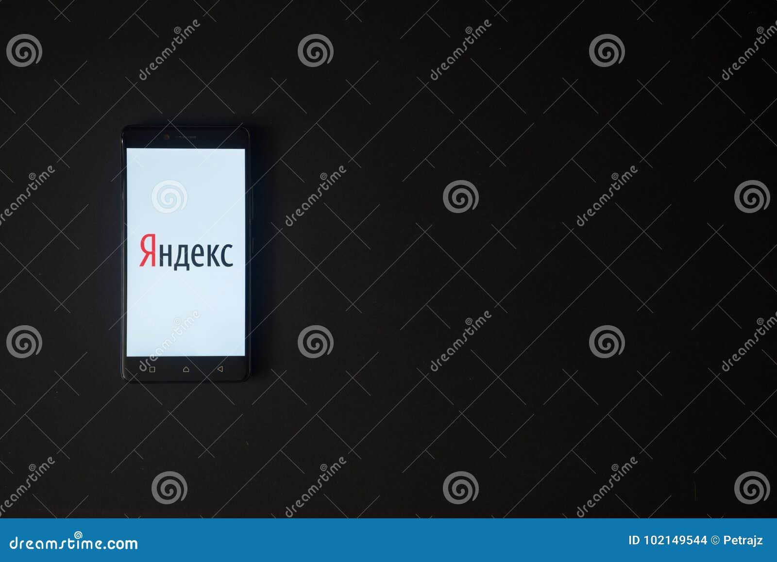 Yandex Logo On Smartphone Screen On Black Background  Editorial