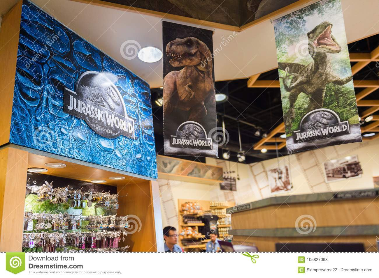 Los Angeles Usa Sep 27 2015 Gift Shop At The Jurassic Park Area In The Universal Studios Hollywood Park Jurassic Park Is A 1993 American Adventure