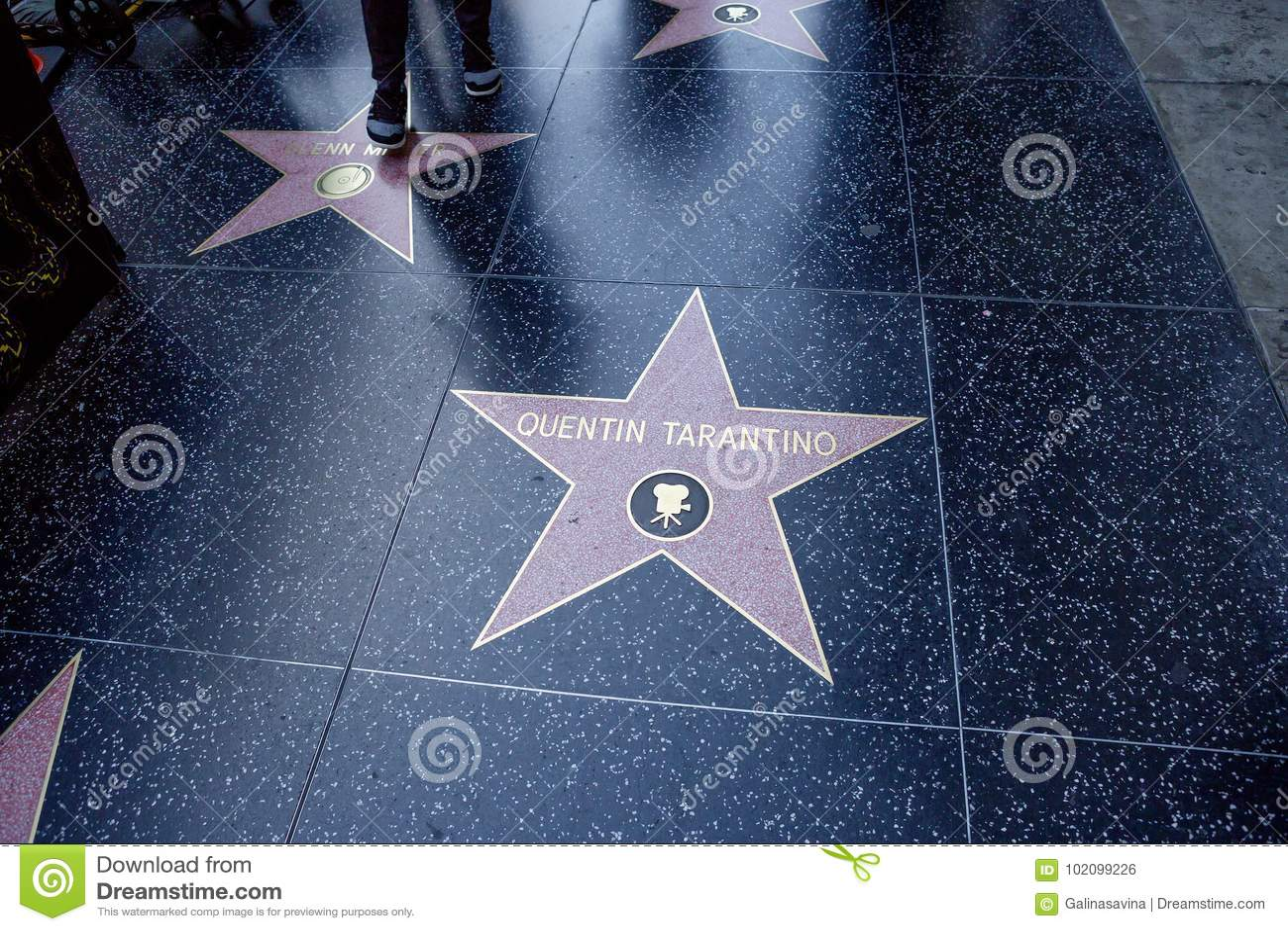 Los Angeles USA, 2016:02: 24 stjärnor på den Hollywood boulevarden Quentin Tarantino