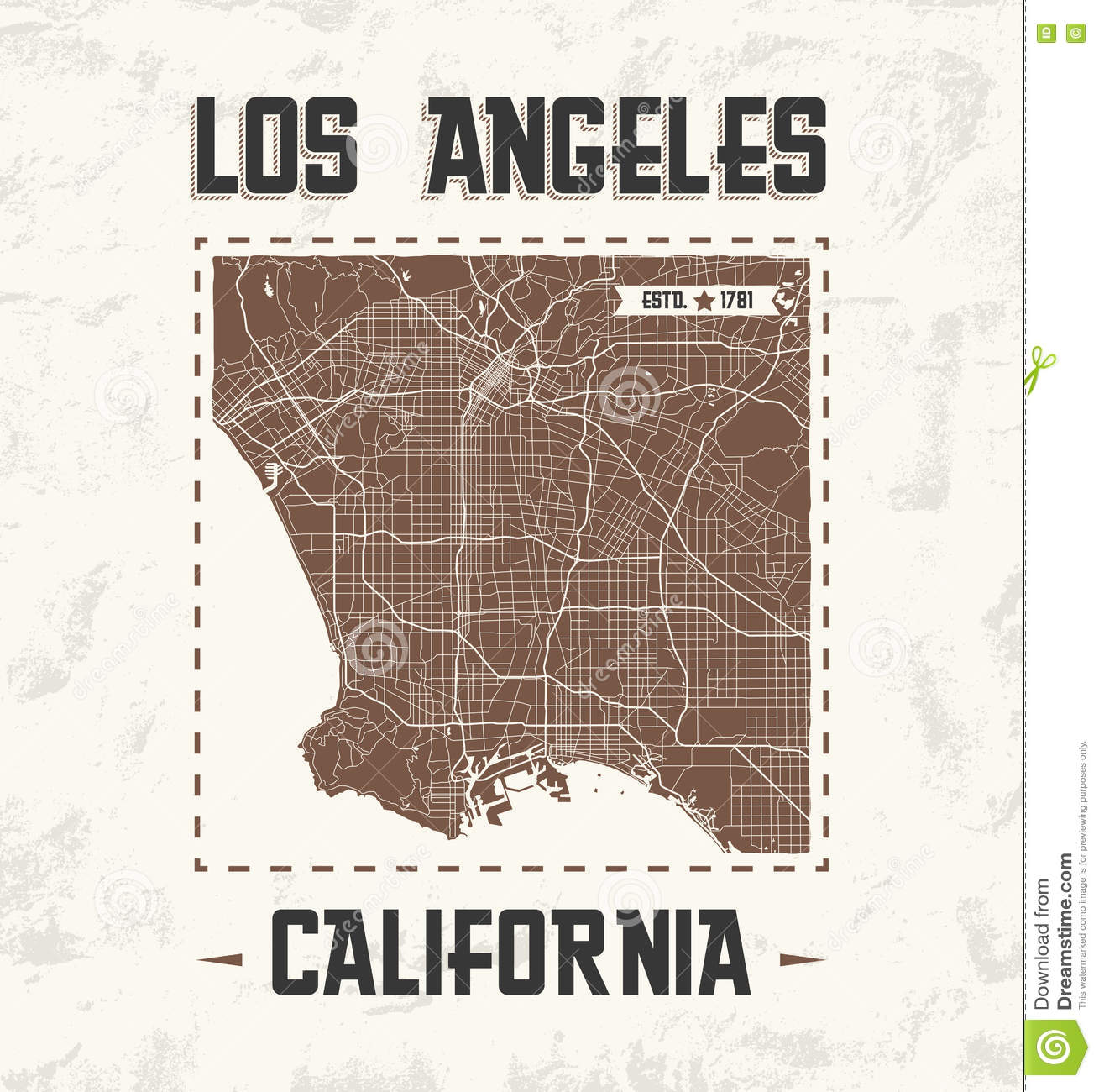 Los angeles vintage t shirt graphic design with city map Logo designers los angeles