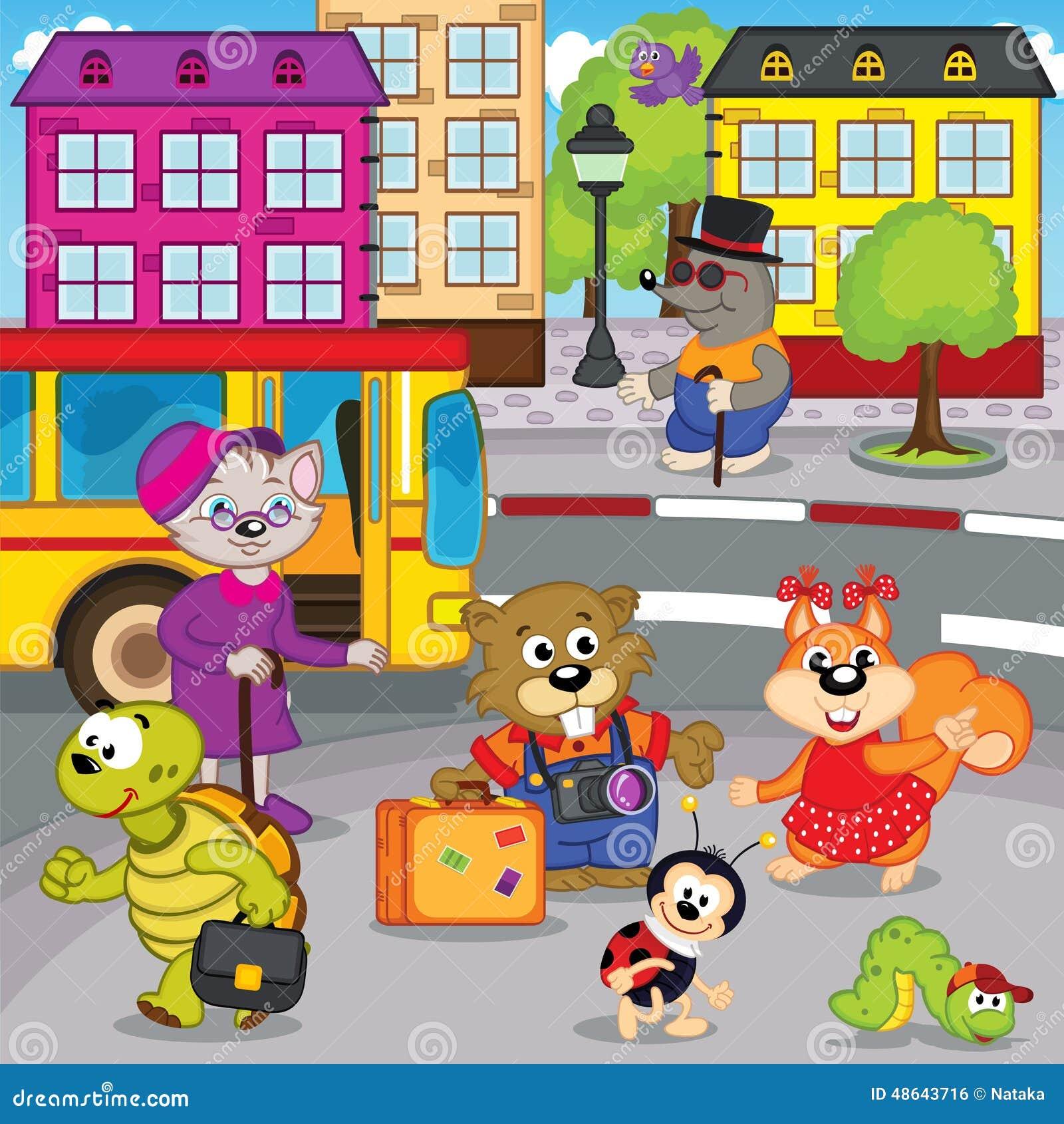 Los animales en ciudad vienen en autobús