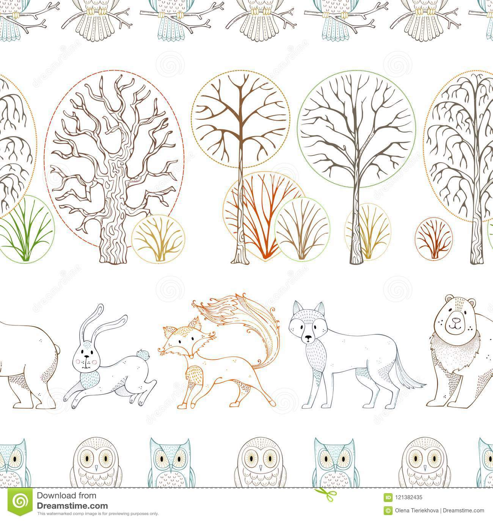 Los animales salvajes en bosque del otoño Vector el modelo inconsútil