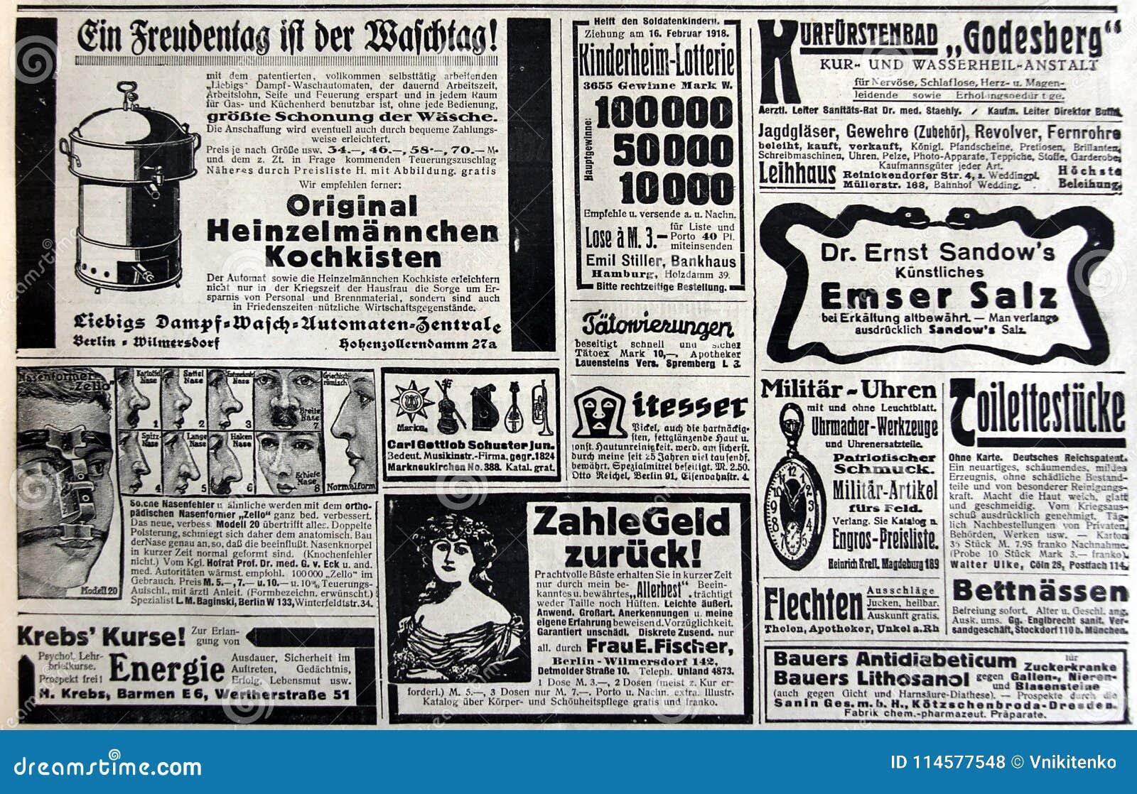 Los Anuncios De Periódico Viejos Foto De Archivo