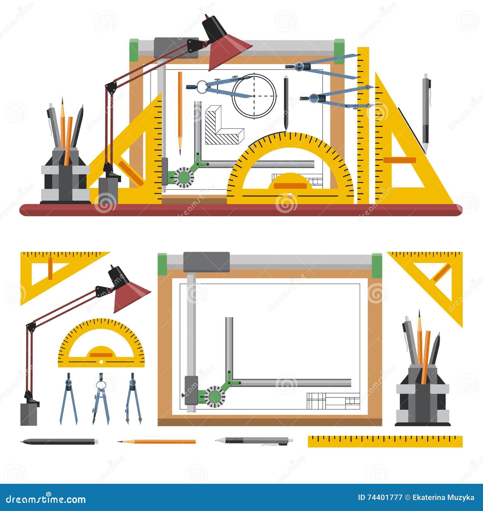 Los arquitectos y el lugar de trabajo del dise ador vector for Trabajo de arquitecto