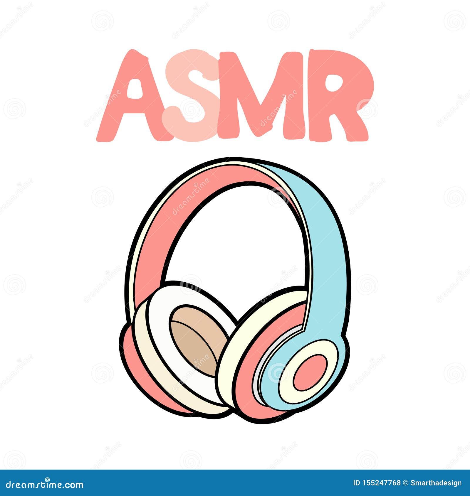 Los auriculares de ASMR aislaron el logotipo, icono Ejemplo meridiano sensorial autónomo de la respuesta Auriculares rosados en b