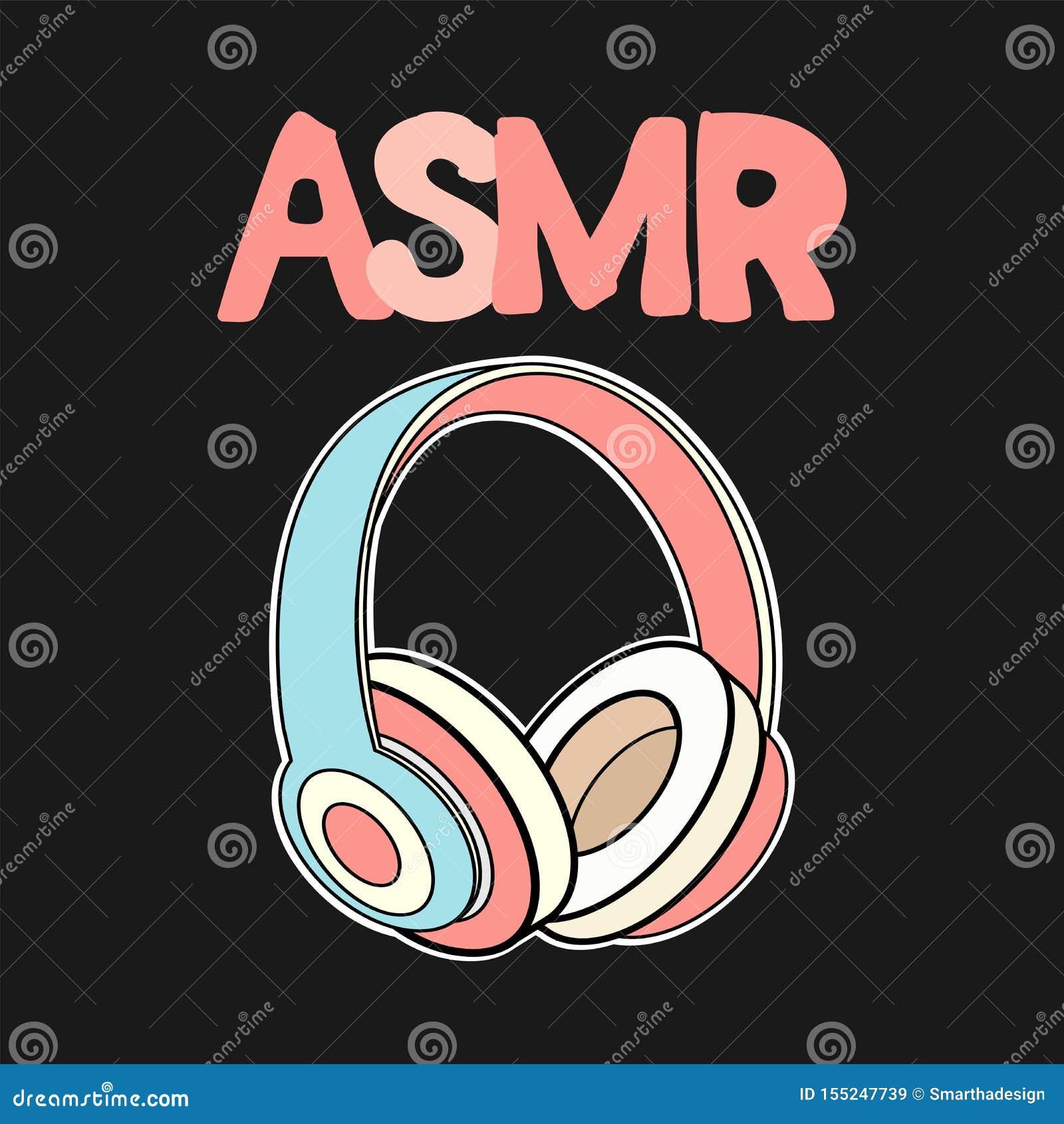 Los auriculares de ASMR aislaron el logotipo, icono Ejemplo meridiano sensorial autónomo de la respuesta Auriculares rosados en n