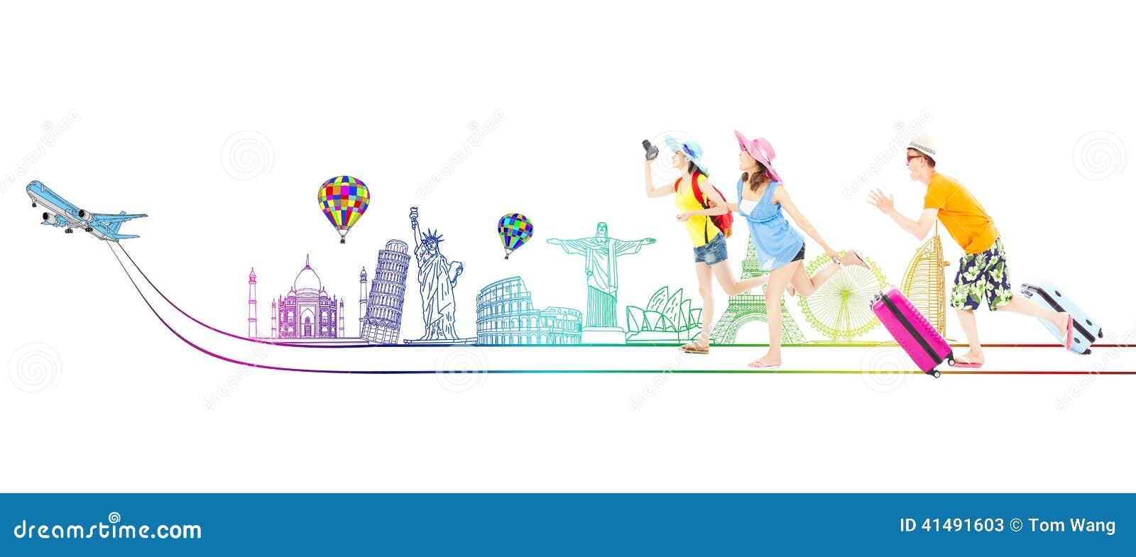 Viajar Por Todo El Mundo Viajar Por Todo El Mundo Dibujo A: Los Backpackers Jovenes Felices Van A Viajar Por Todo El