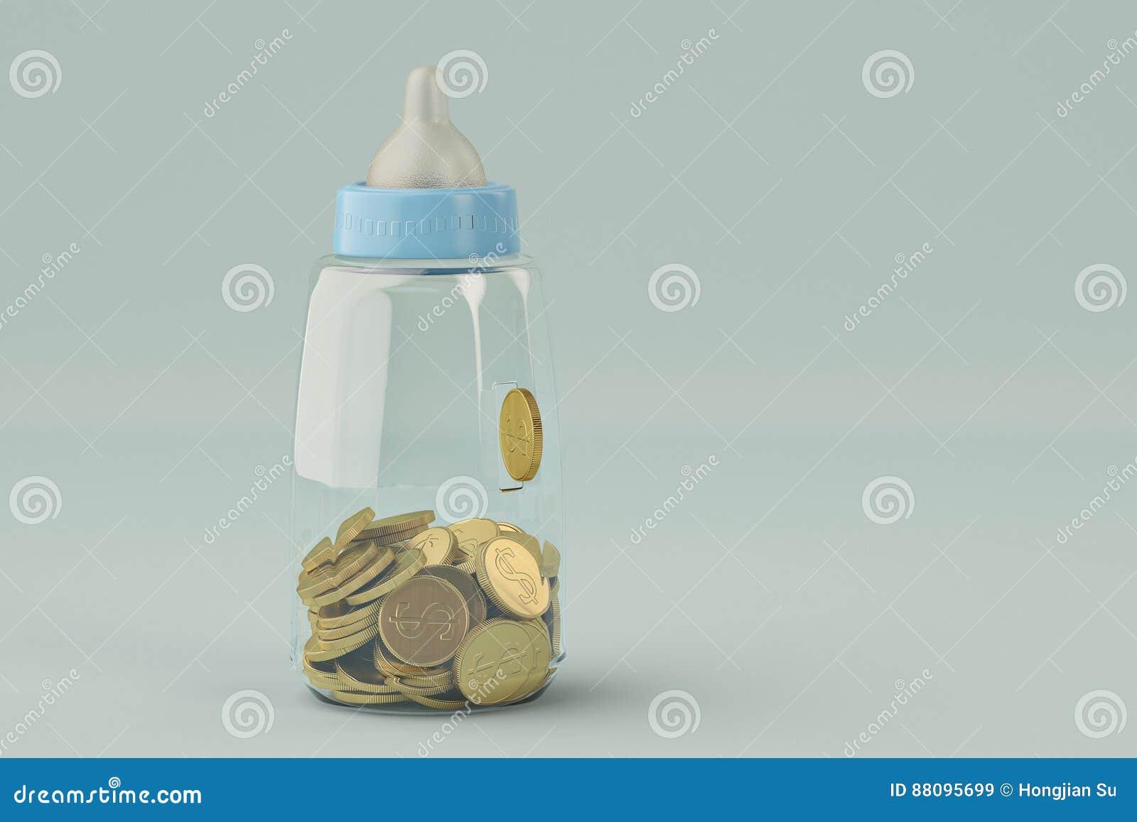 Los biberones ejercen la actividad bancaria y la moneda de oro en fondo azul illustrat 3d