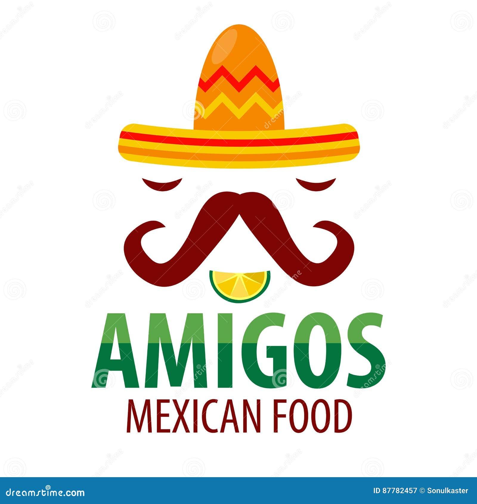 964500dae70e6 La plantilla mexicana del logotipo de los amigos del restaurante del  sombrero del sombrero con los bigotes