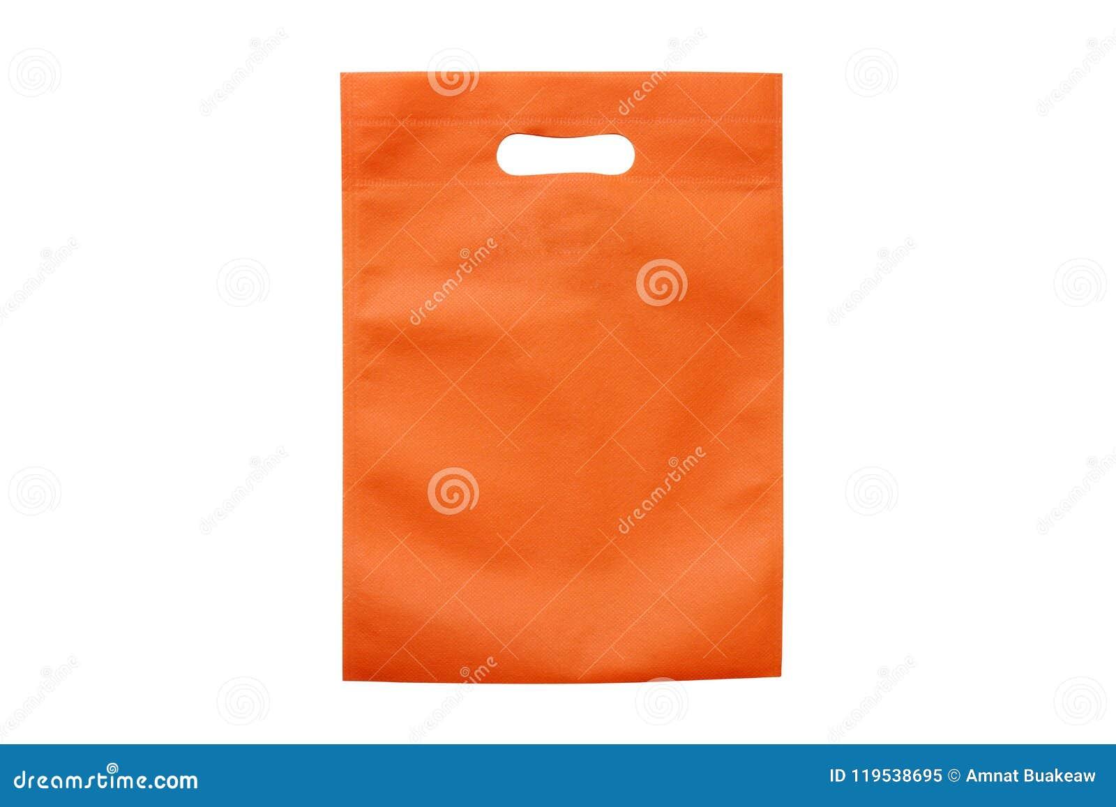 Los bolsos anaranjados, paño del eco empaquetan para reducir el calentamiento del planeta, panieres, la bolsa de plástico, recicl