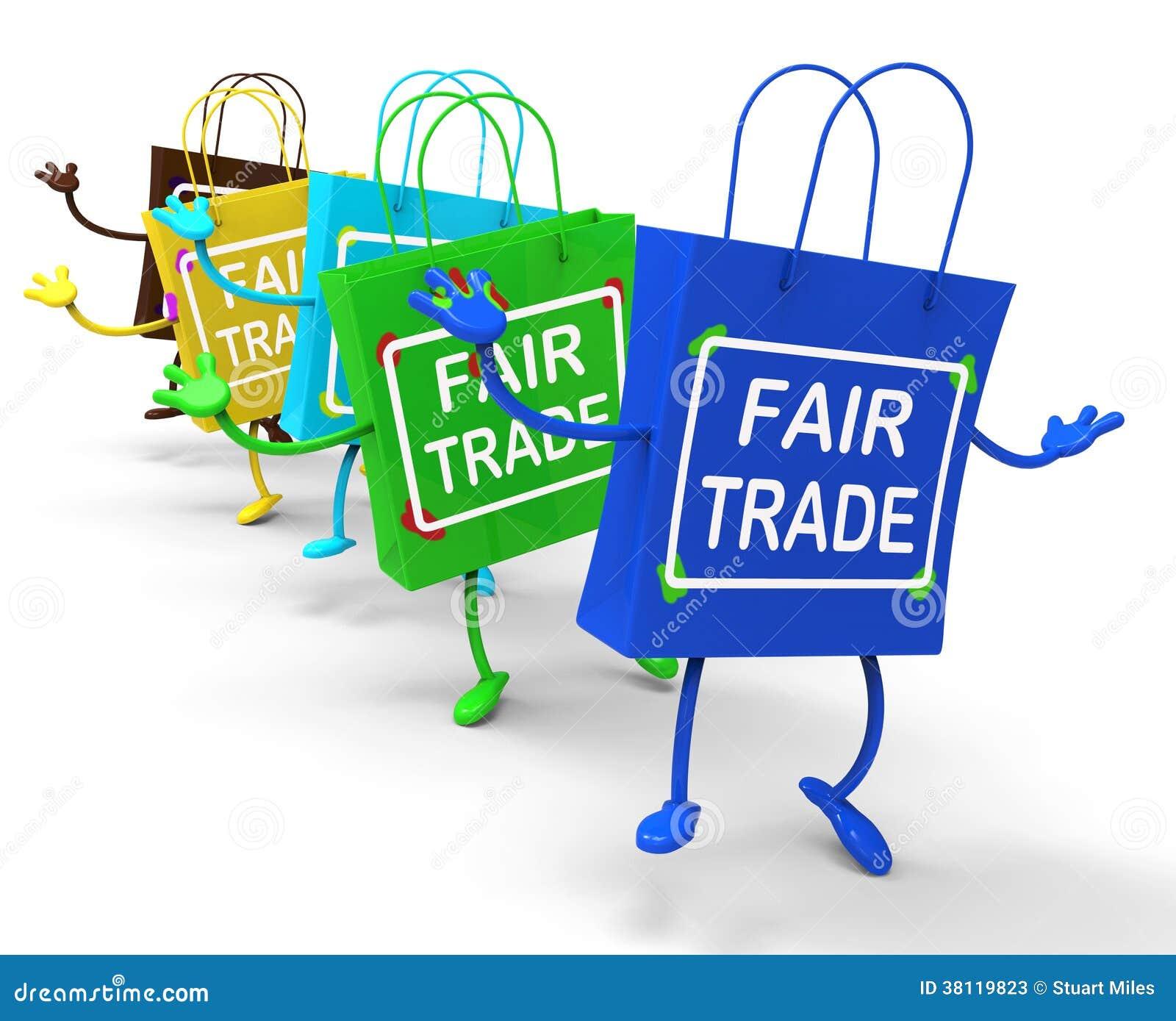 Los bolsos del comercio justo muestran tratos iguales y los intercambian