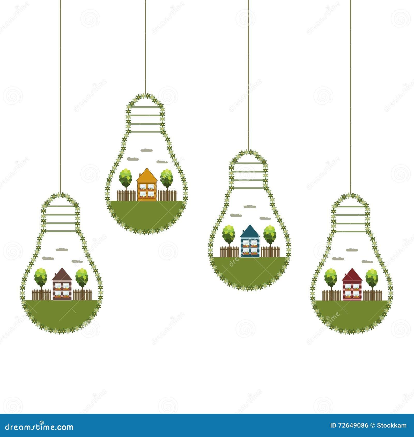 Los bulbos de la luz verde con las casas y los árboles de madera de Eco, piensan concepto verde