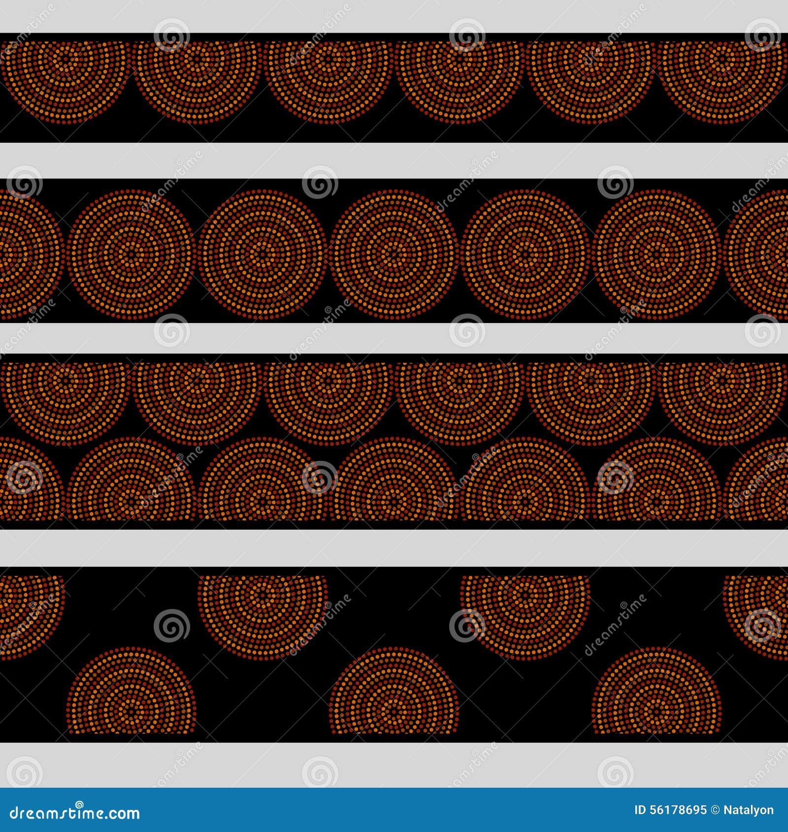 Los círculos concéntricos del arte geométrico aborigen australiano en fronteras inconsútiles marrones y negras anaranjadas fijan,