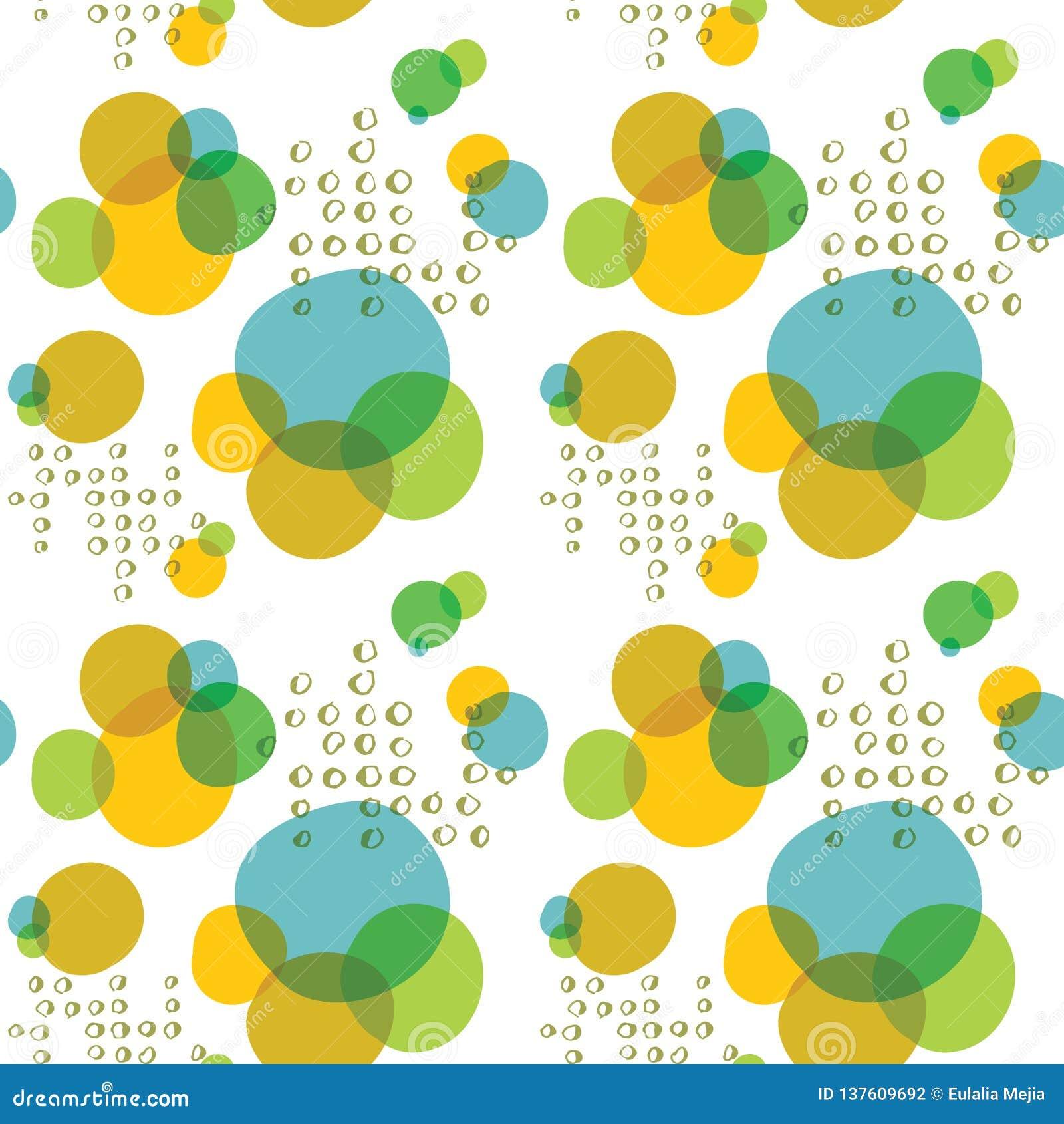 Los círculos grandes del vector y pequeños coloridos resumen el fondo inconsútil del modelo