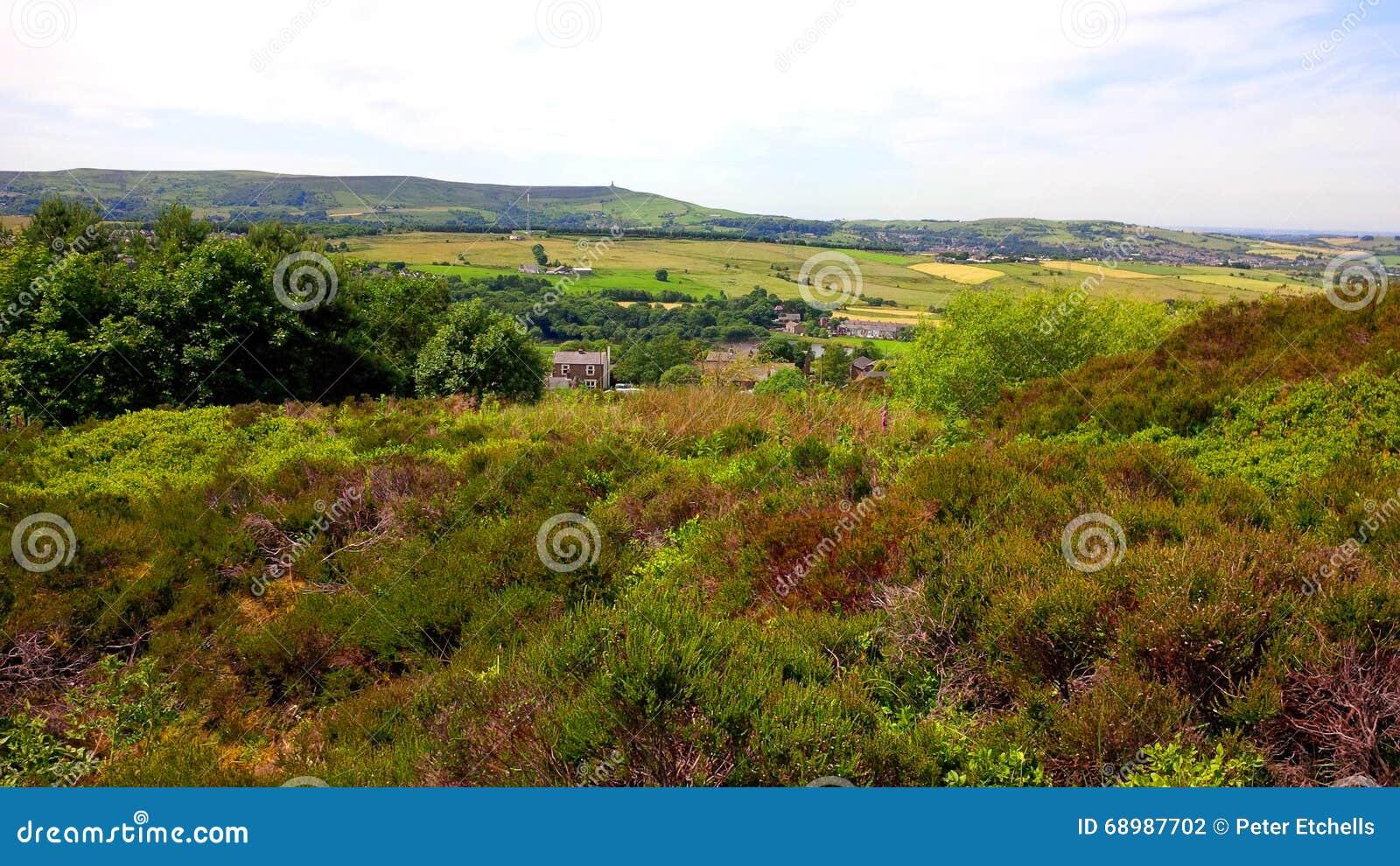 Los campos en el penino del oeste amarran cerca de Darwen